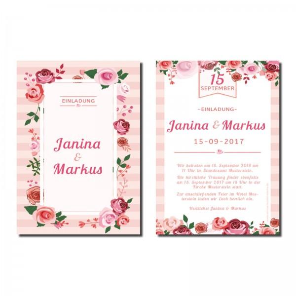 Einladungskarten Hochzeit Hochzeitskarten mit Druck - Rosentraum