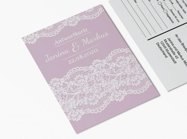 Antwortkarten für Einladung Hochzeit - Rosa Spitze