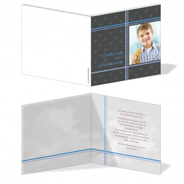 Einladung Einladungskarte Kommunion Bilder Kreuz Grau/Blau