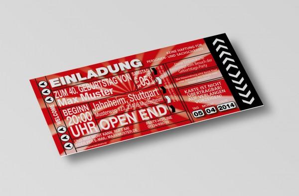 Einladung Einladungskarte lustig Geburtstag-Ticket Rot