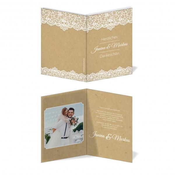Dankeskarten Danke Hochzeit - Retro Spitze