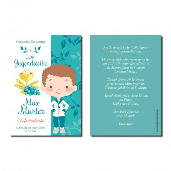 Einladung Einladungskarte Jugendweihe Ornament Junge