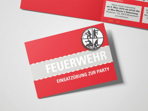 Feuerwehr Einladung Einladungskarte lustig Geburtstag DIN A6 quer Klappkarte