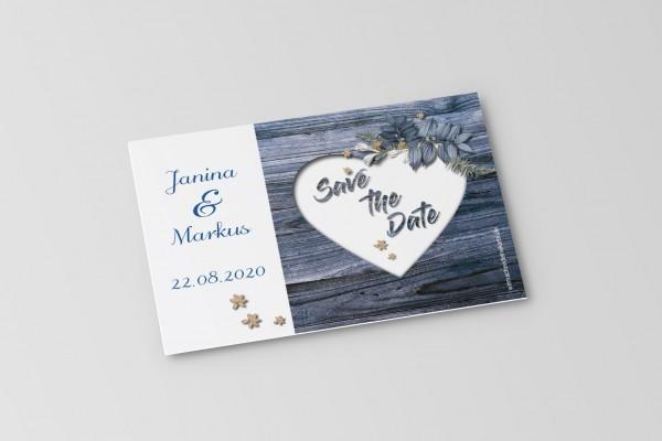 Save the Date Karten Einladung Hochzeit - Rustikale Holz-Optik blau