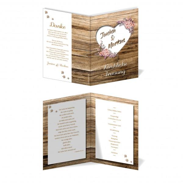 Kirchenprogramm Hochzeit - Rustikale Holz-Optik braun