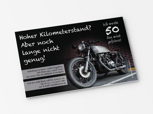 Einladungskarte altes Motorrad