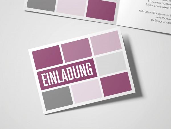 Einladungskarten 30. Geburtstag Quader lila