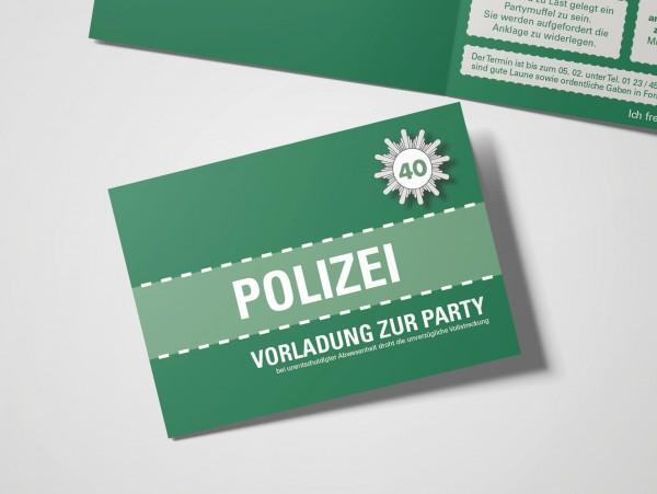Einladungskarte lustig Geburtstag Vorladung Polizei DIN A6 quer Klappkarte grün
