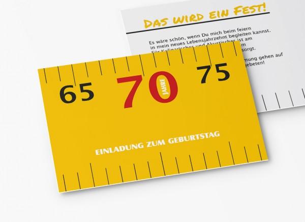 Einladungskarten 70. Geburtstag Meterstab