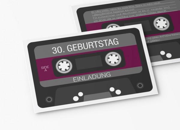 Einladungskarten 30. Geburtstag Retro Kassette lila