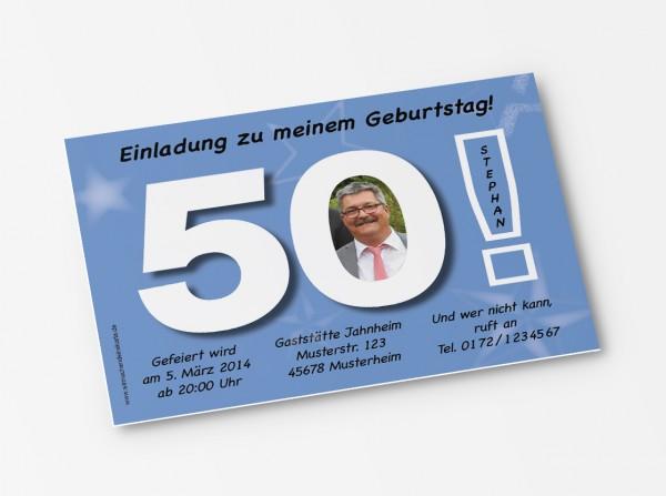 Geburtstag Einladungskarten - 50. Geburtstag Große 50 Hellblau