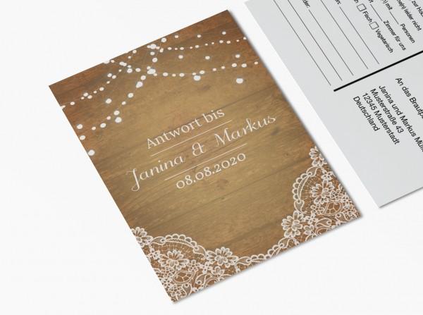 Antwortkarten für Einladung Hochzeit - Holz & Spitze
