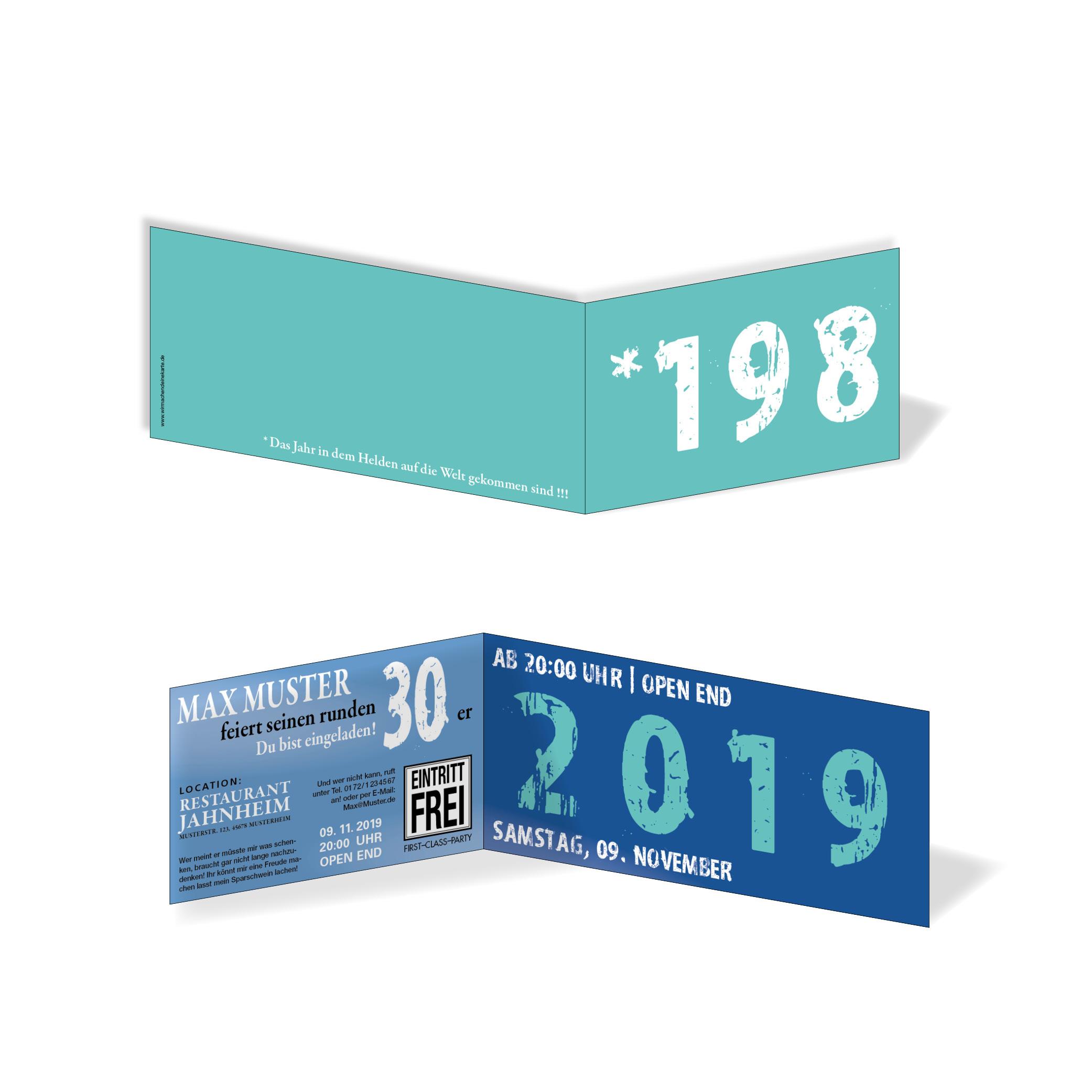 geburtstag einladungskarten - 30. geburtstag zeitsprung