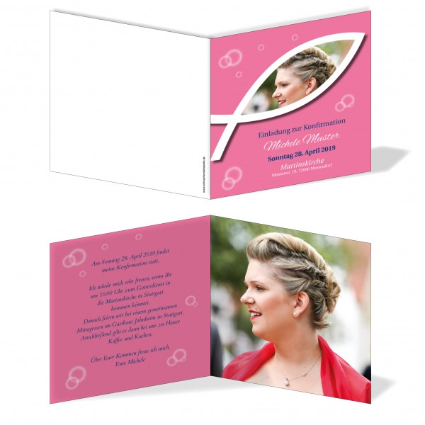 Einladung Einladungskarte Konfirmation Fisch Bild Rosa