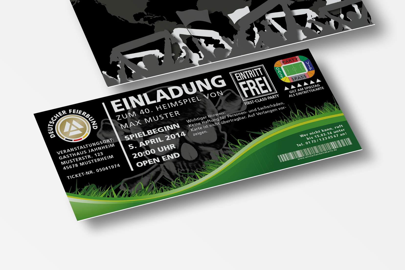 Einladung Einladungskarte Lustig Geburtstag Fussball Stadionticket Schwarz