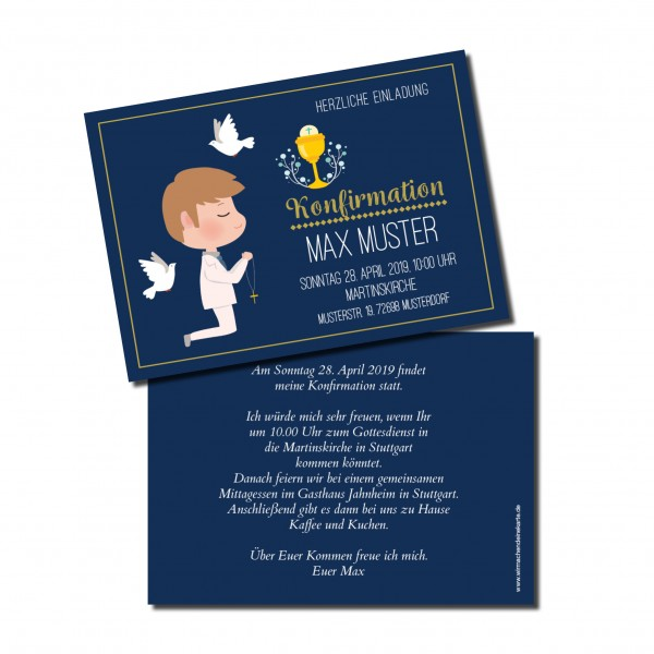 Einladung Einladungskarte Konfirmation Blau