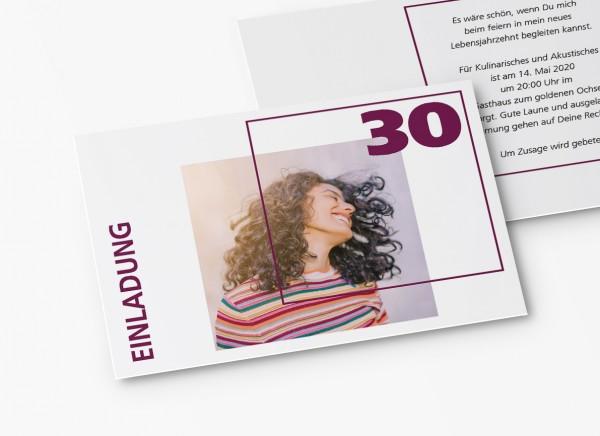 Einladungskarten 30. Geburtstag Quader Gitter lila