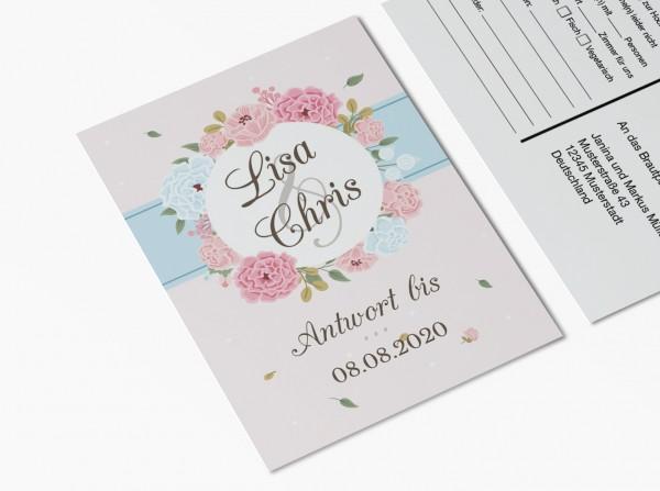 Antwortkarten für Einladung Hochzeit - Blumen Kreis