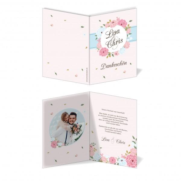 Dankeskarten Danke Hochzeit - Blumen Kreis
