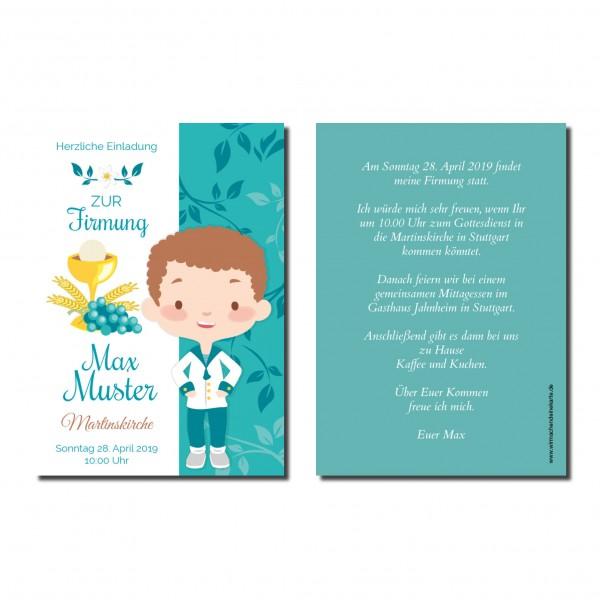 Einladung Einladungskarte Firmung Ornament Junge