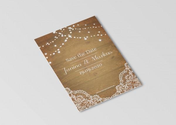Save the Date Karten Einladung Hochzeit - Holz & Spitze