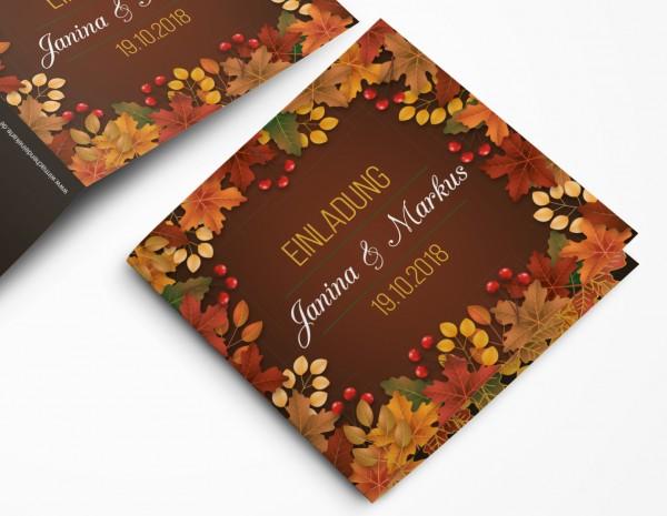 Einladungskarten Hochzeit Hochzeitskarten mit Druck - Herbsthochzeit