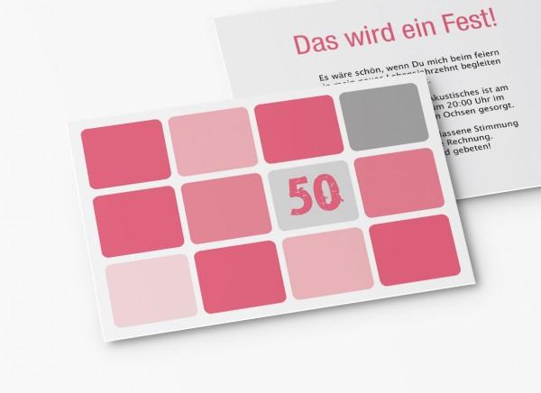 Einladungskarten 50. Geburtstag Runde Quadrate