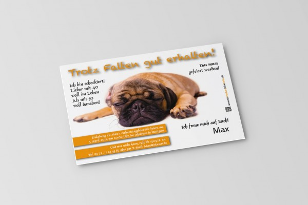 Einladung Einladungskarte lustig Geburtstag Hund
