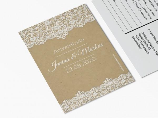 Antwortkarten für Einladung Hochzeit - Retro Spitze