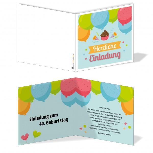 Einladung Einladungskarte Geburtstag Luftballonspaß