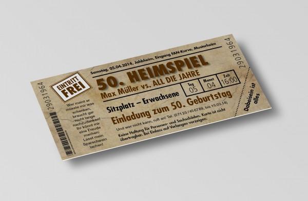 Einladung Einladungskarte lustig Geburtstag Heimspiel Ticket