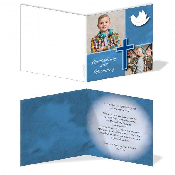 Einladung Einladungskarte Firmung Bilder Quadrat Blau