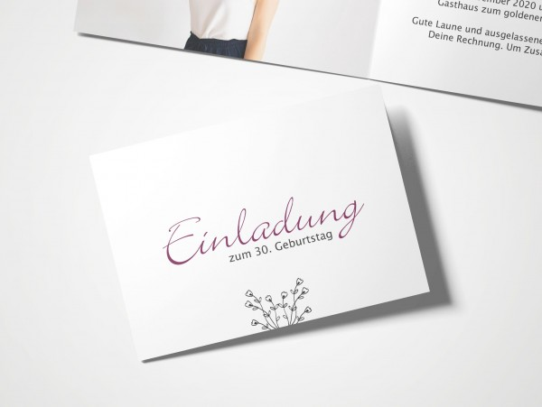 Einladungskarten 30. Geburtstag Handschrift lila