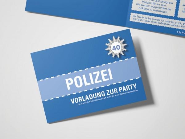 Einladungskarte lustig Geburtstag Vorladung Polizei DIN A6 quer Klappkarte