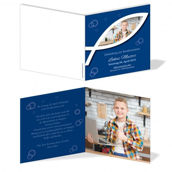 Einladung Einladungskarte Konfirmation Fisch Bild Blau