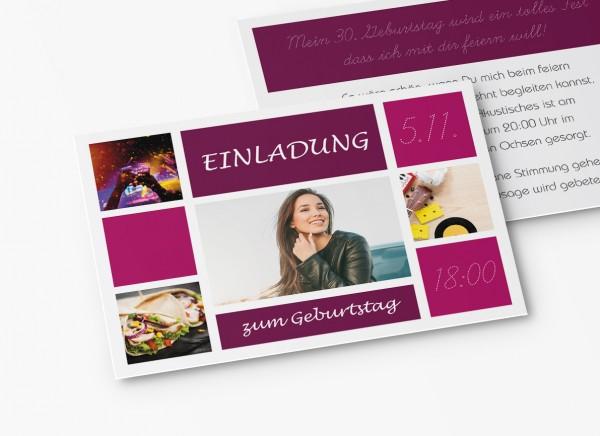 Einladungskarten 30. Geburtstag Kacheln lila