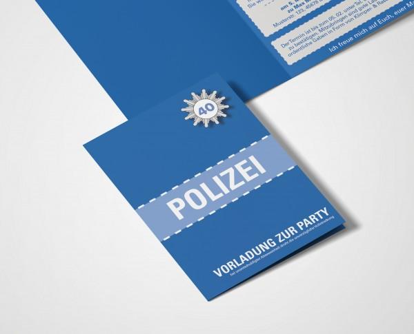 Einladungskarte lustig Geburtstag Vorladung Polizei DIN A6 hoch Klappkarte