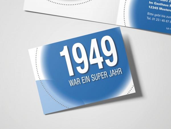 Geburtstag Einladungskarten - 70. Geburtstag Super Jahr Blau