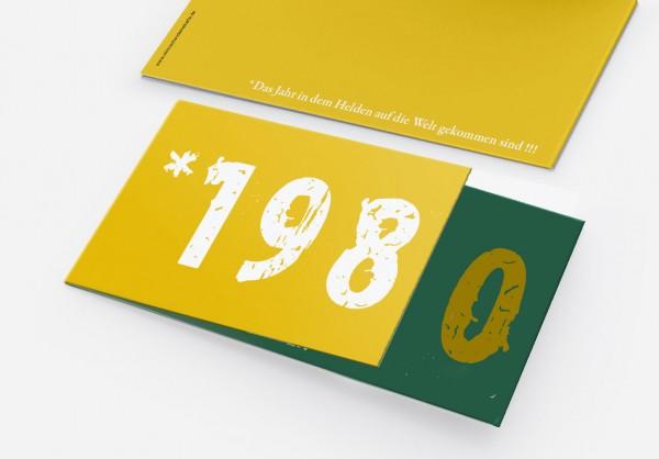 Geburtstag Einladungskarten - 40. Geburtstag Zeitsprung Grün Gelb