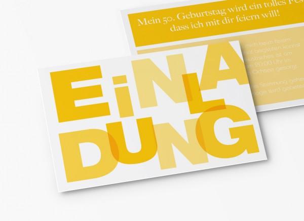 Einladungskarten 50. Geburtstag Große Buchstaben