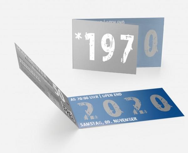 Geburtstag Einladungskarten - 50. Geburtstag Zeitsprung Blau Grau