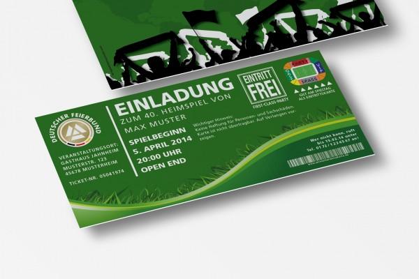 Einladung Einladungskarte lustig Geburtstag Fußball-Stadionticket grün