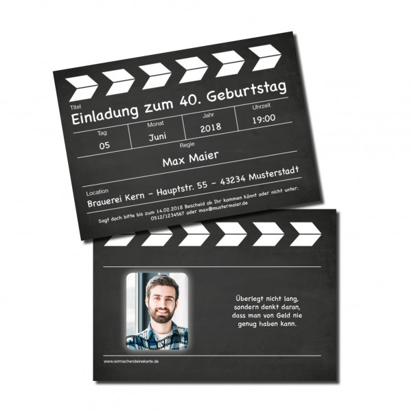 Einladung Einladungskarte lustig Geburtstag Filmklappe individuell