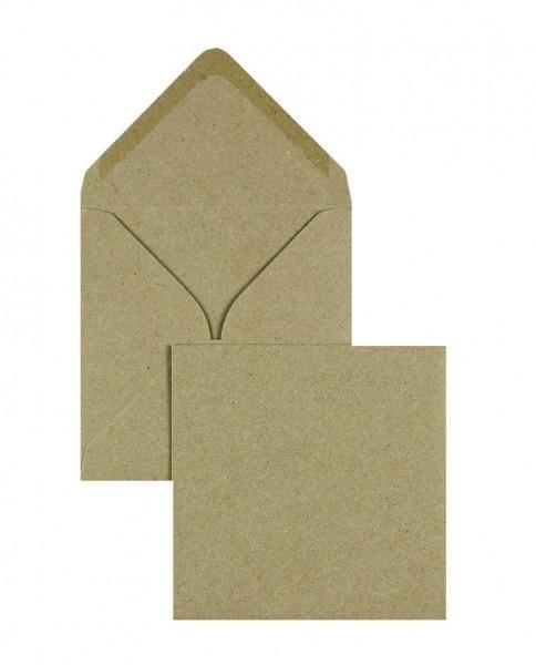 Quadratische Briefumschläge Nassklebend - braun Kraftpapier