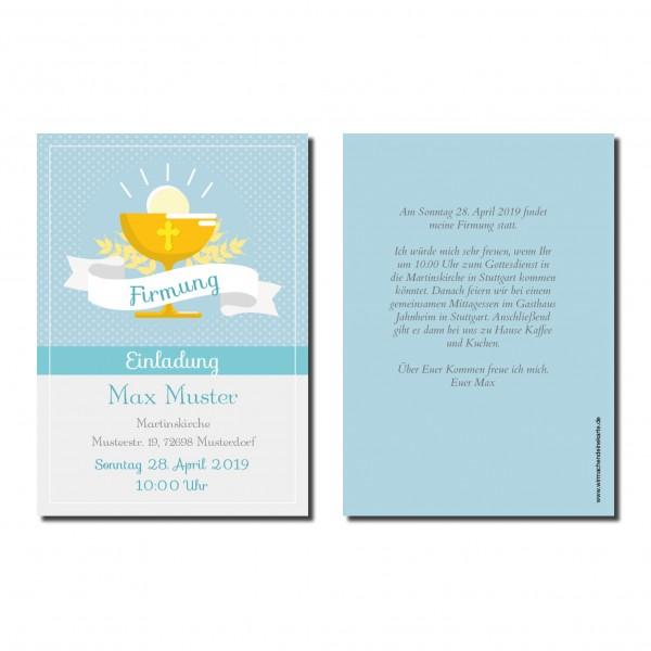Einladung Einladungskarte Firmung Blauer Klech