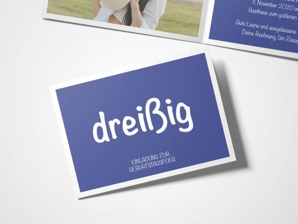 Einladungskarten 30. Geburtstag Quadrat blau