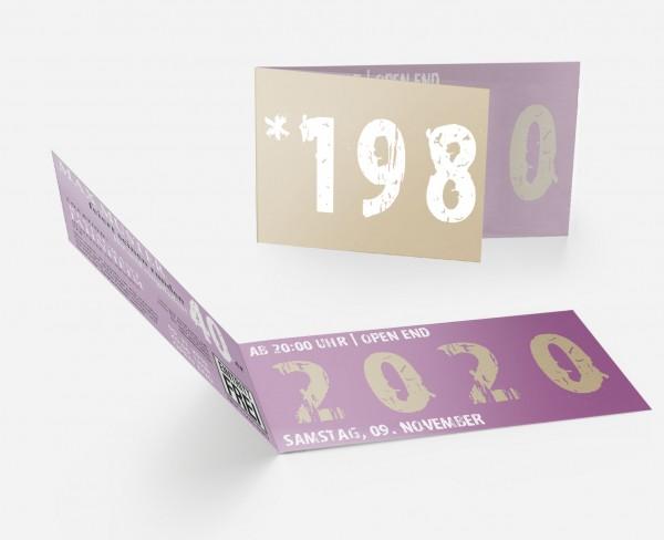 Geburtstag Einladungskarten -  40. Geburtstag Zeitsprung Lila