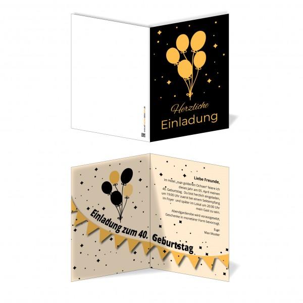Einladung Einladungskarte Geburtstag Orange Balloon