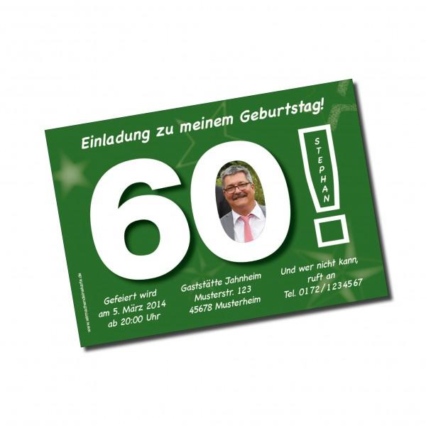 geburtstag einladungskarten - 60. geburtstag große 60 grün