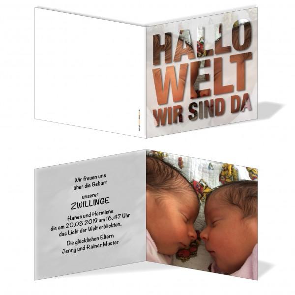 Geburtskarten Babykarten individuell - Zwillinge Hallo Welt